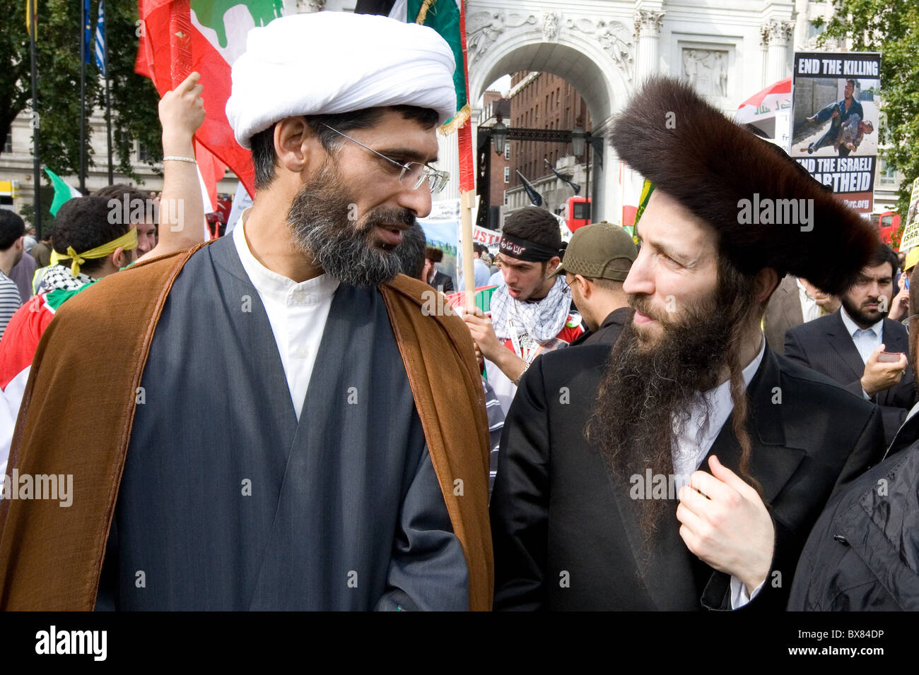 Arab Mullah and Jewish Rabbi - Stock Image