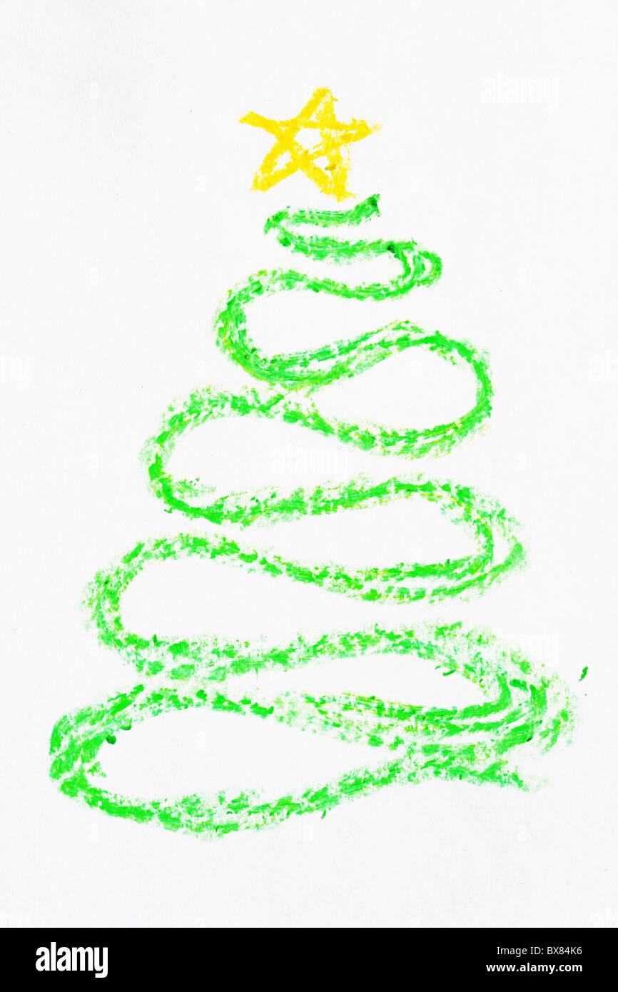 Crayon Curved Christmas Tree Drawing With Yellow Star Stock Photo