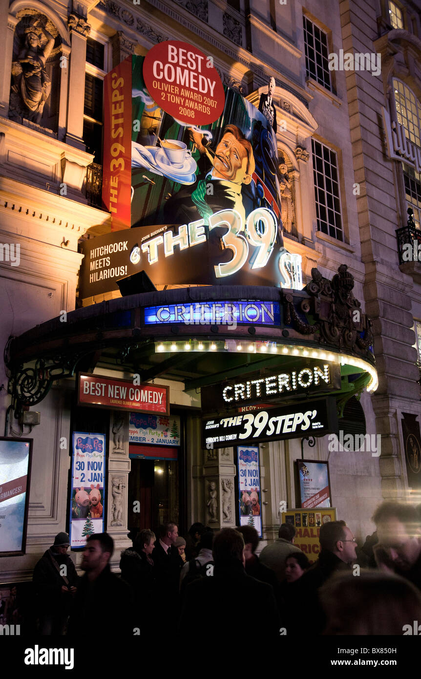 The 39 Steps advertising hoarding at the front of the Criterion theatre. - Stock Image