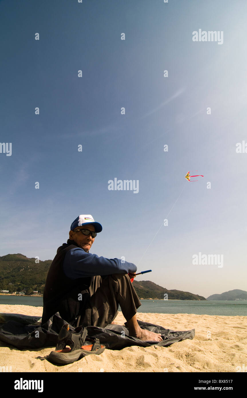 The Kite flyer.. Stock Photo