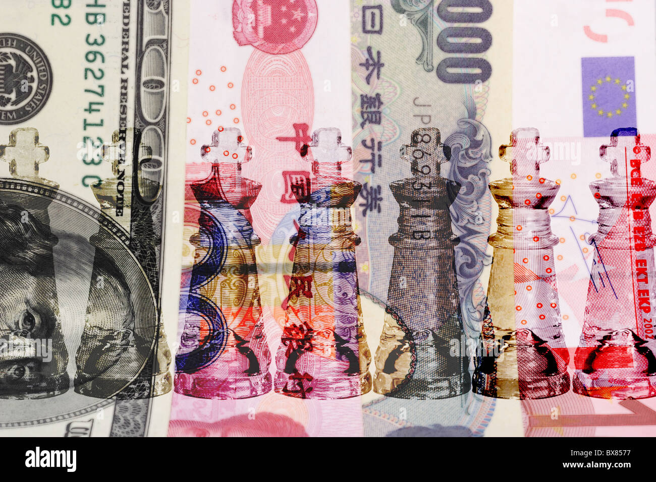 Cash is King - row of transparent King chess pieces on world major currencies - Stock Image