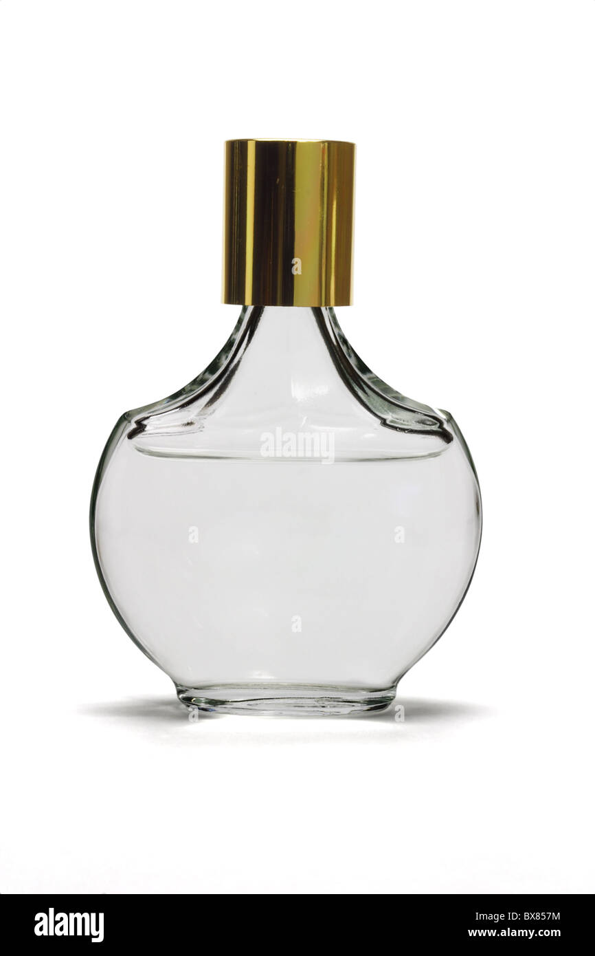 perfume in a glass bottle on white background - Stock Image