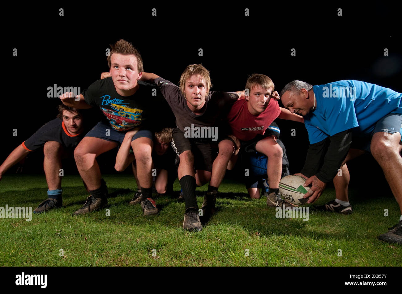 under 19's doing rugby pratice - Stock Image