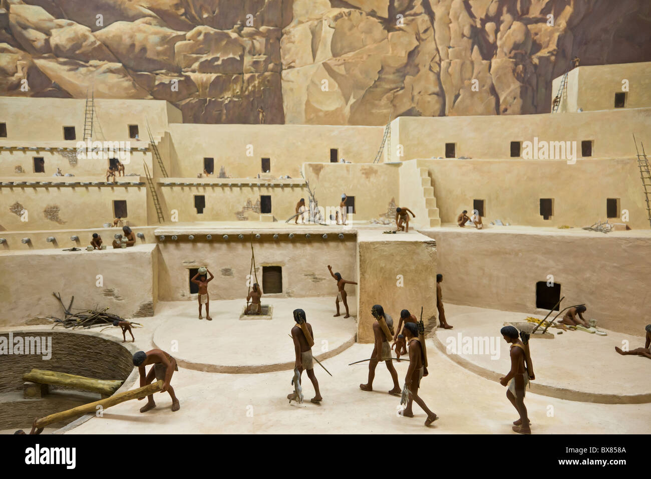 Diorama depicting Chacoan life at the Chaco Culture National Historical Park, New Mexico, USA. Stock Photo