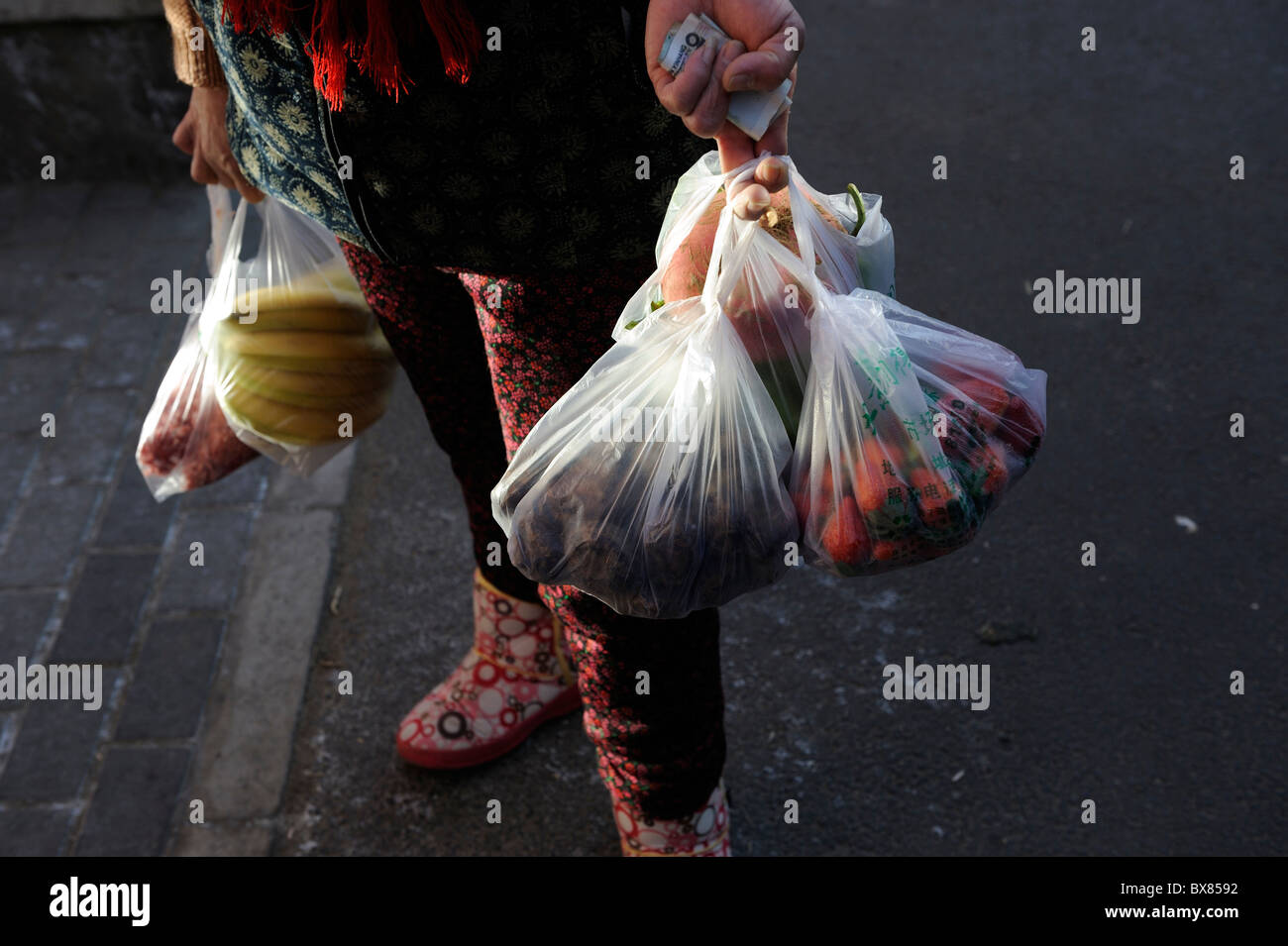 A lady carries bags of groceries back home after shopping at a market in Beijing, China.11-Dec-2010 - Stock Image