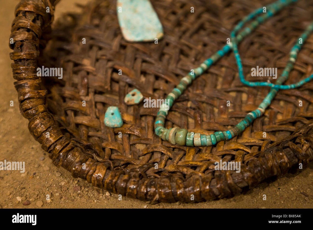 Turquoise necklace at the Chaco Culture National Historical Park, New Mexico, USA. Stock Photo