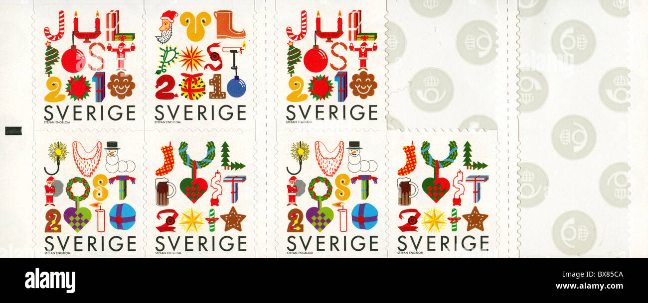 Sheet of unsused Christmas stamps from Sweden, 2010 Stock Photo