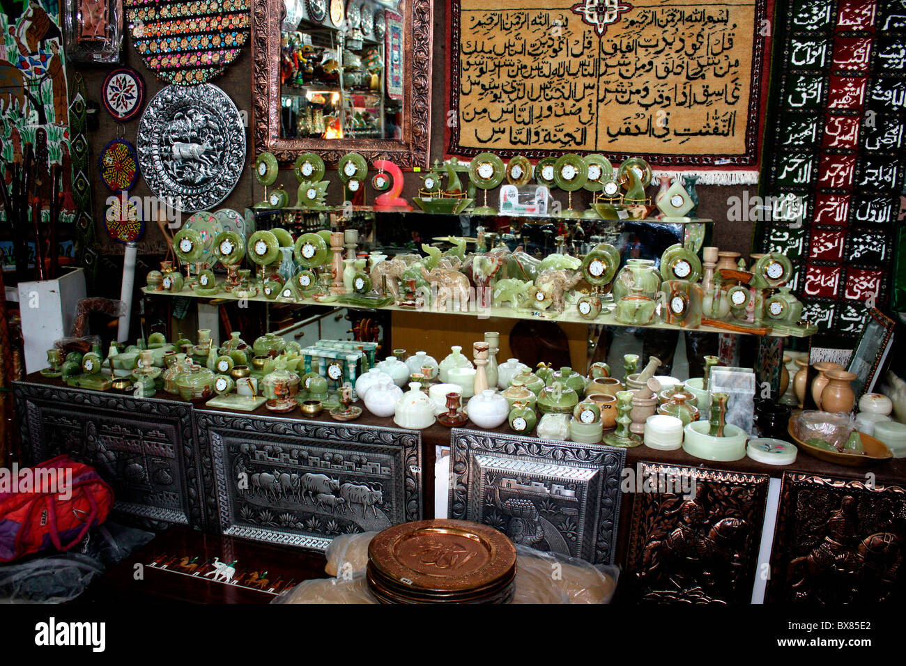 Onyx gemstone crafts and wall hangings and other handicrafts on display at Murree,Pakistan - Stock Image