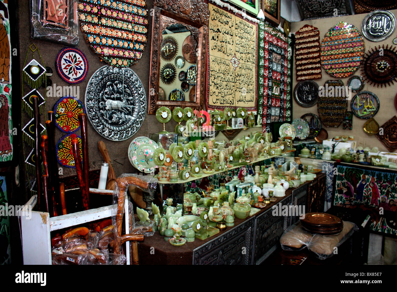 Onyx gemstone crafts on display in handicraft show room at Murree, PakistanStock Photo