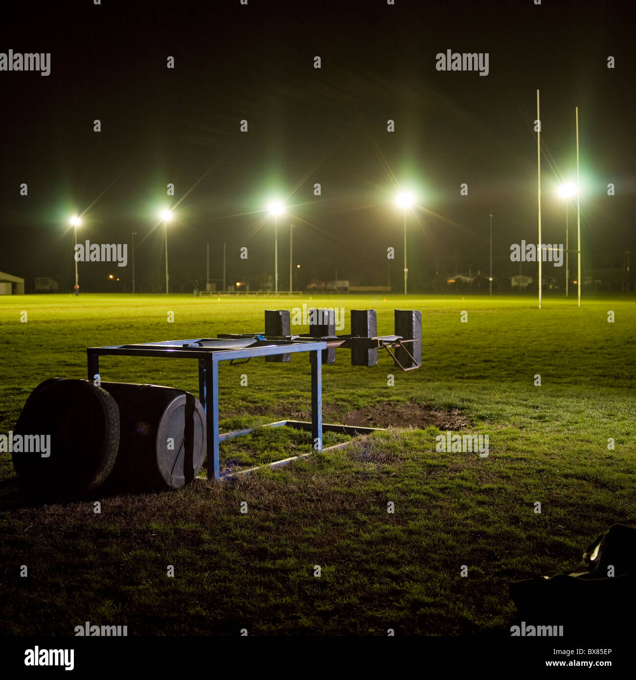 rugby training ground at nightime - Stock Image