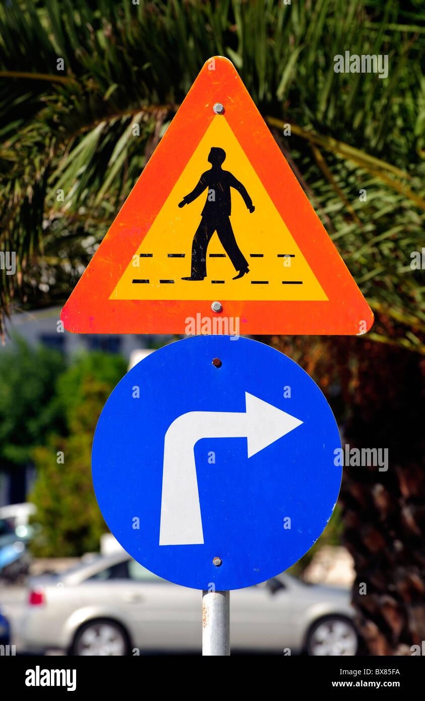 Greek traffic signs - Stock Image