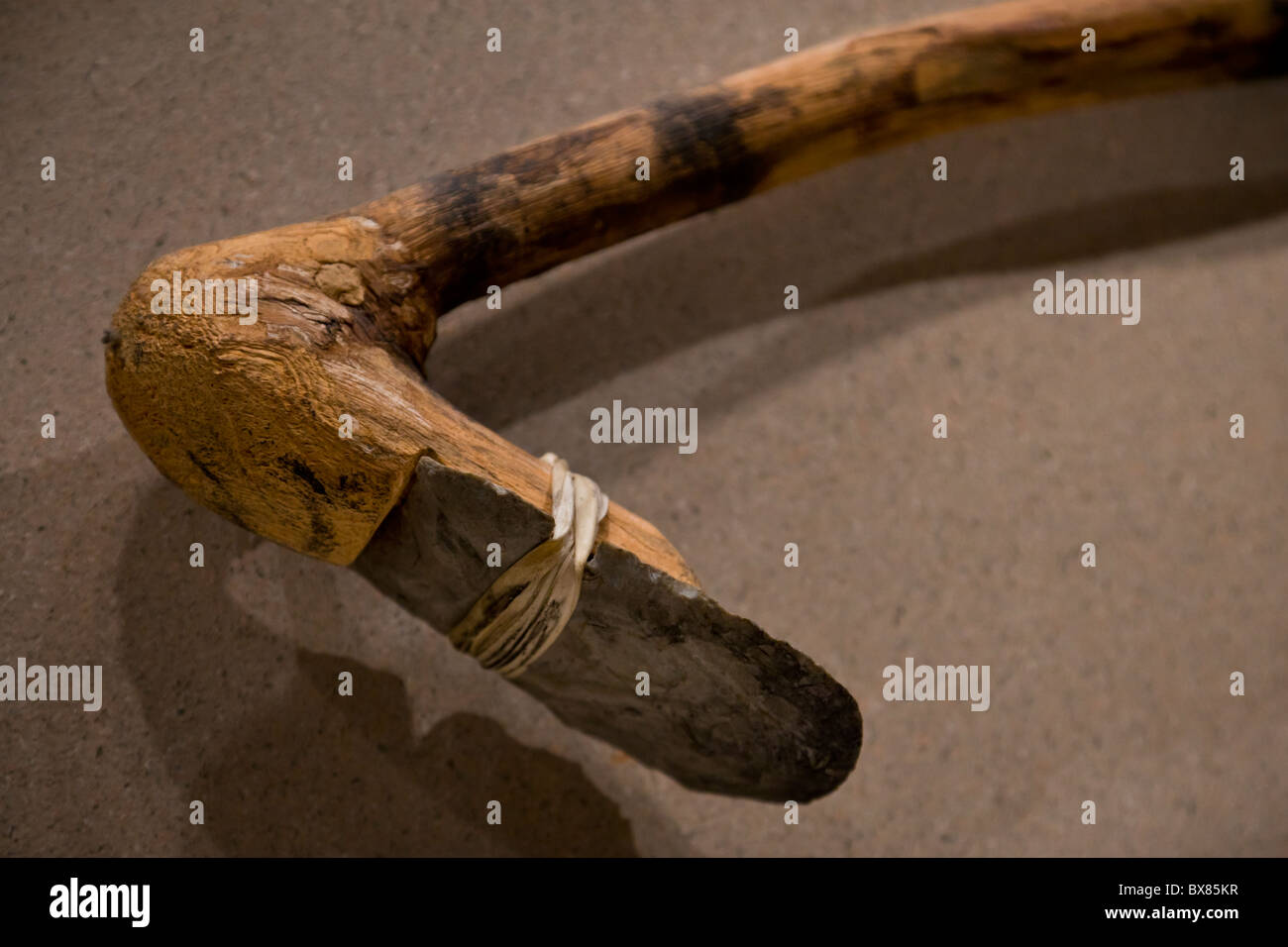 Mississippian period stone hoe formed from a chert blade strapped to a handle at Cahokia Mounds, Illinois, USA. - Stock Image