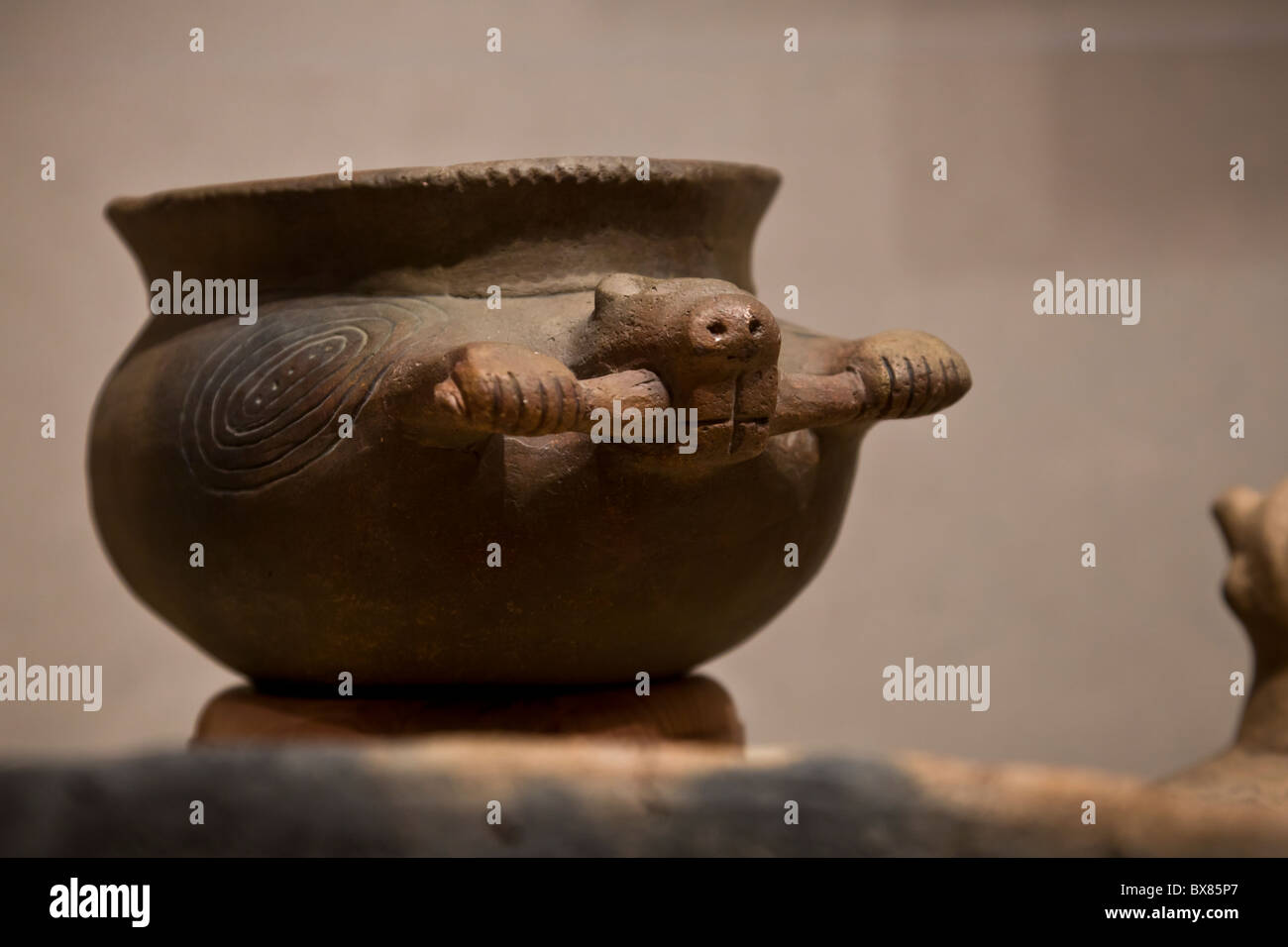Mississippian period vessel with beaver representation found at Cahokia Mounds State Historic Site, Illinois, USA. - Stock Image
