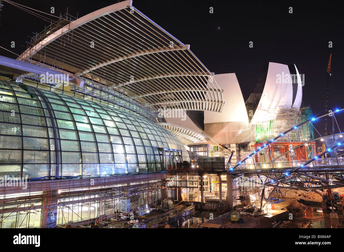 Construction works at the Marina Bay Sands Hotel and Integrated Resort in Singapore. Stock Photo