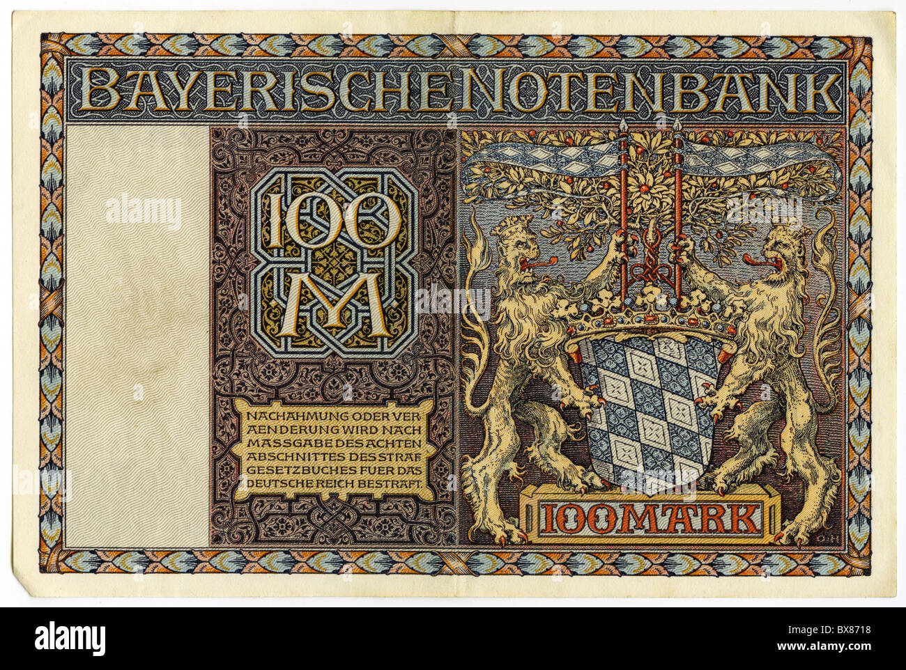 money / finance, banknotes, Germany, 100 Mark, Bavarian Central bank, Munich, 1.1.1922, Additional-Rights-Clearences Stock Photo