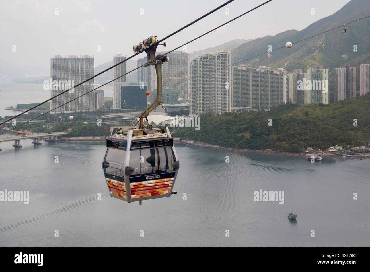 China Hong Kong Lantau Ngon Ping cable car & Tung Chung - Stock Image