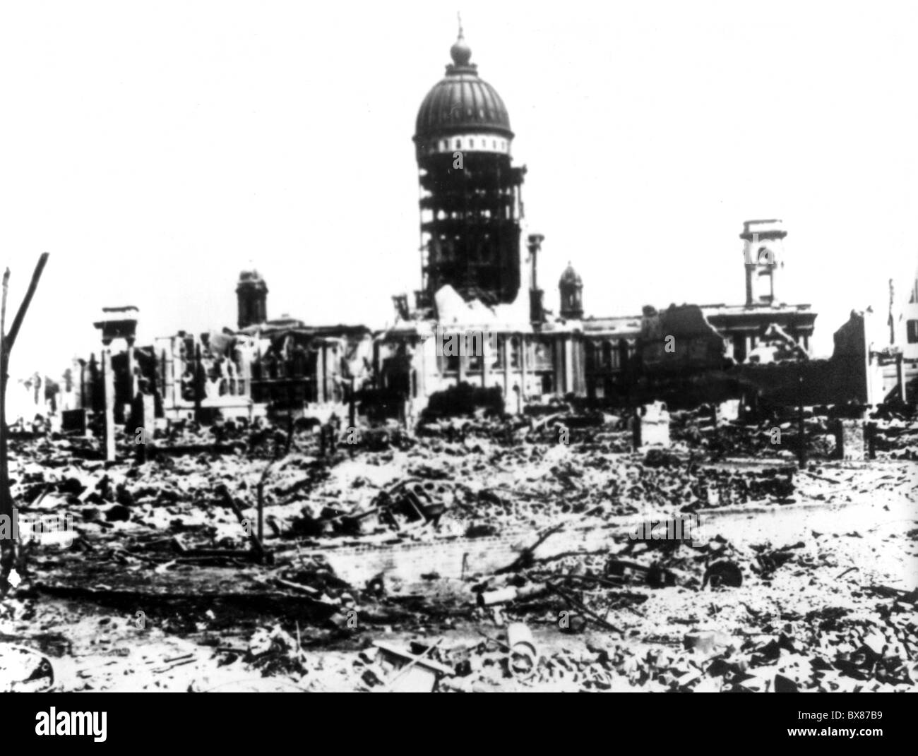 disasters, earthquakes, San Francisco, California, 18.4.1906, distriction, view, , Additional-Rights-Clearances - Stock Image