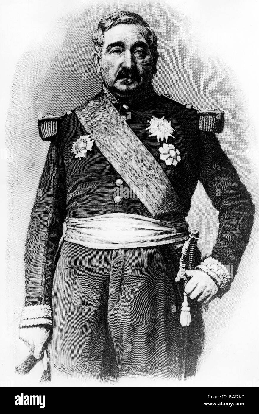 Cousin-Montauban, Charles, 24.6.1796 - 8.1.1878, French general, Minister of war 10.8.- 4.9.1870, half length, wood - Stock Image
