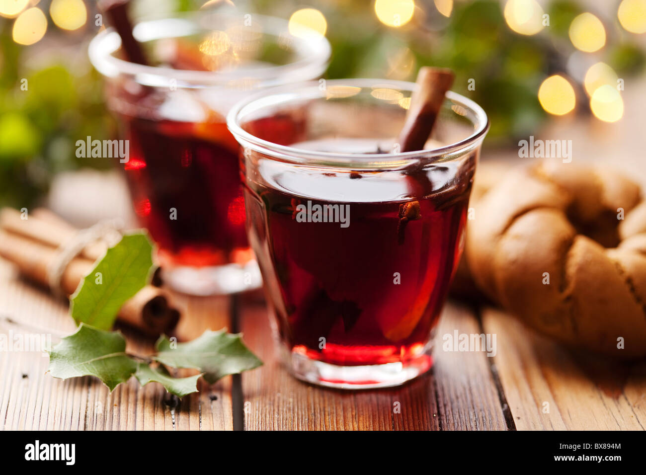 closeup of mulled wine - Stock Image