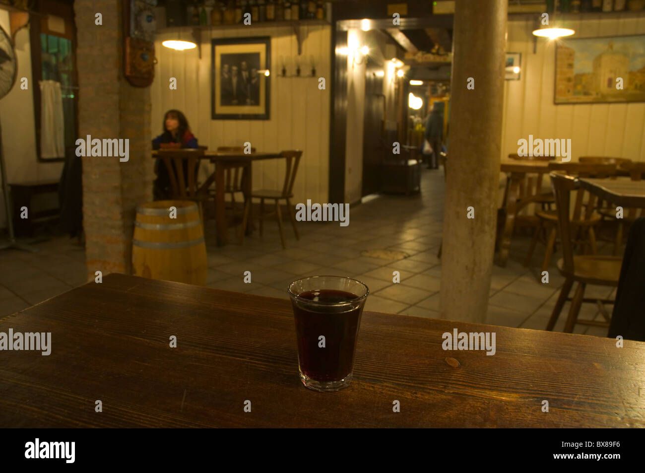 Ombra a small glass of wine in a wine bar in Cannaregio district Venice the Veneto northern Italy Europe - Stock Image