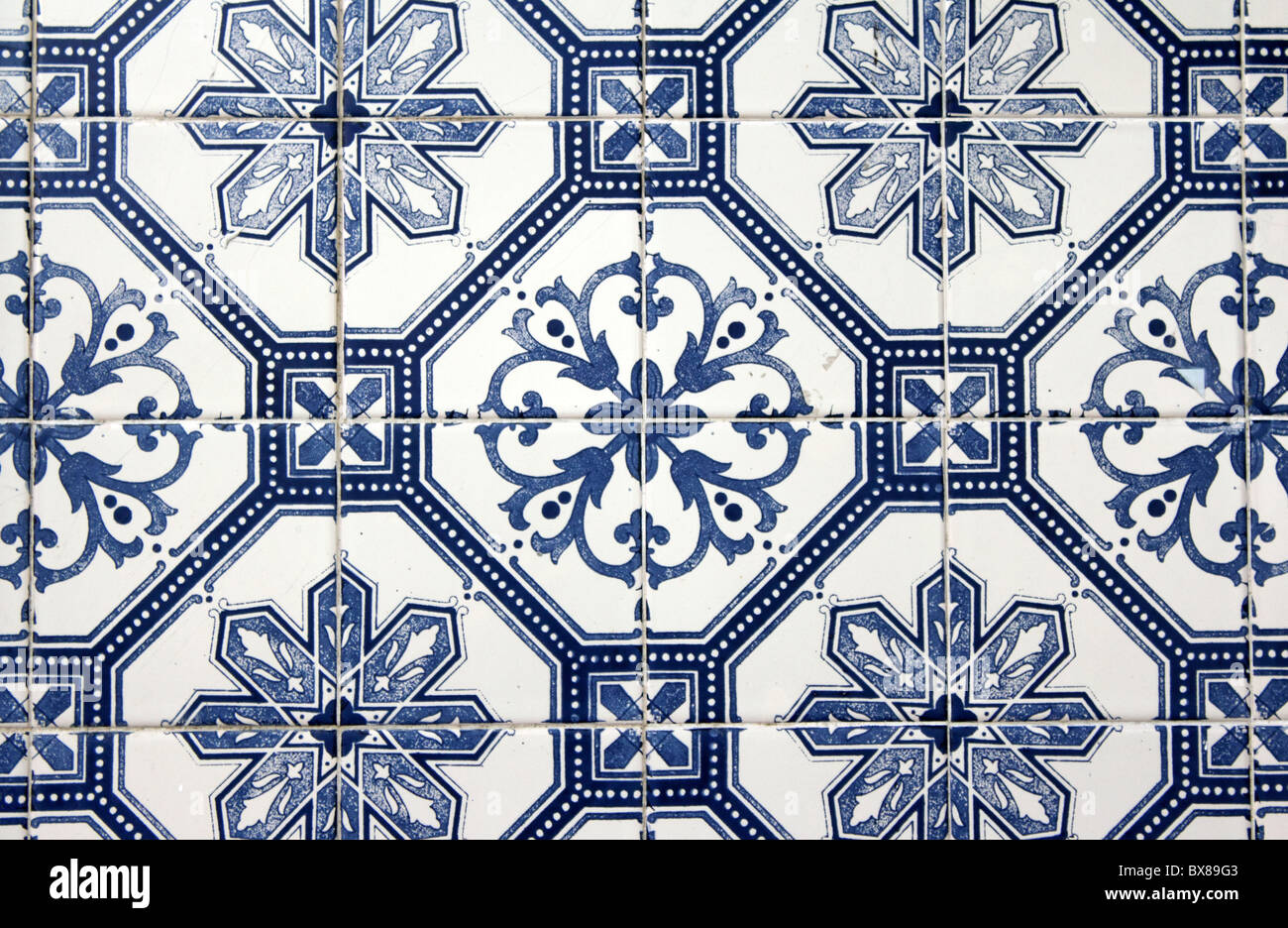 Decorative tiles (azulejos), Alfama, Lisbon, Portugal - Stock Image
