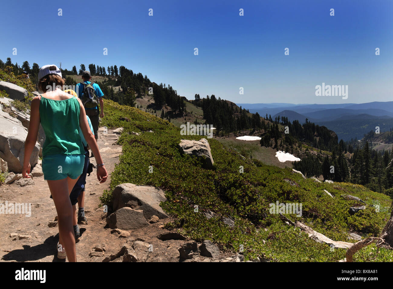 A family walk high in the mountains, Lassen Volcanic  National Park, California USA - Stock Image
