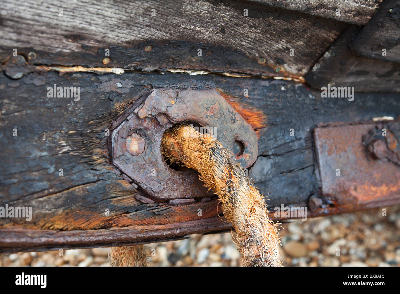Rope attached to boat keel - Stock Image