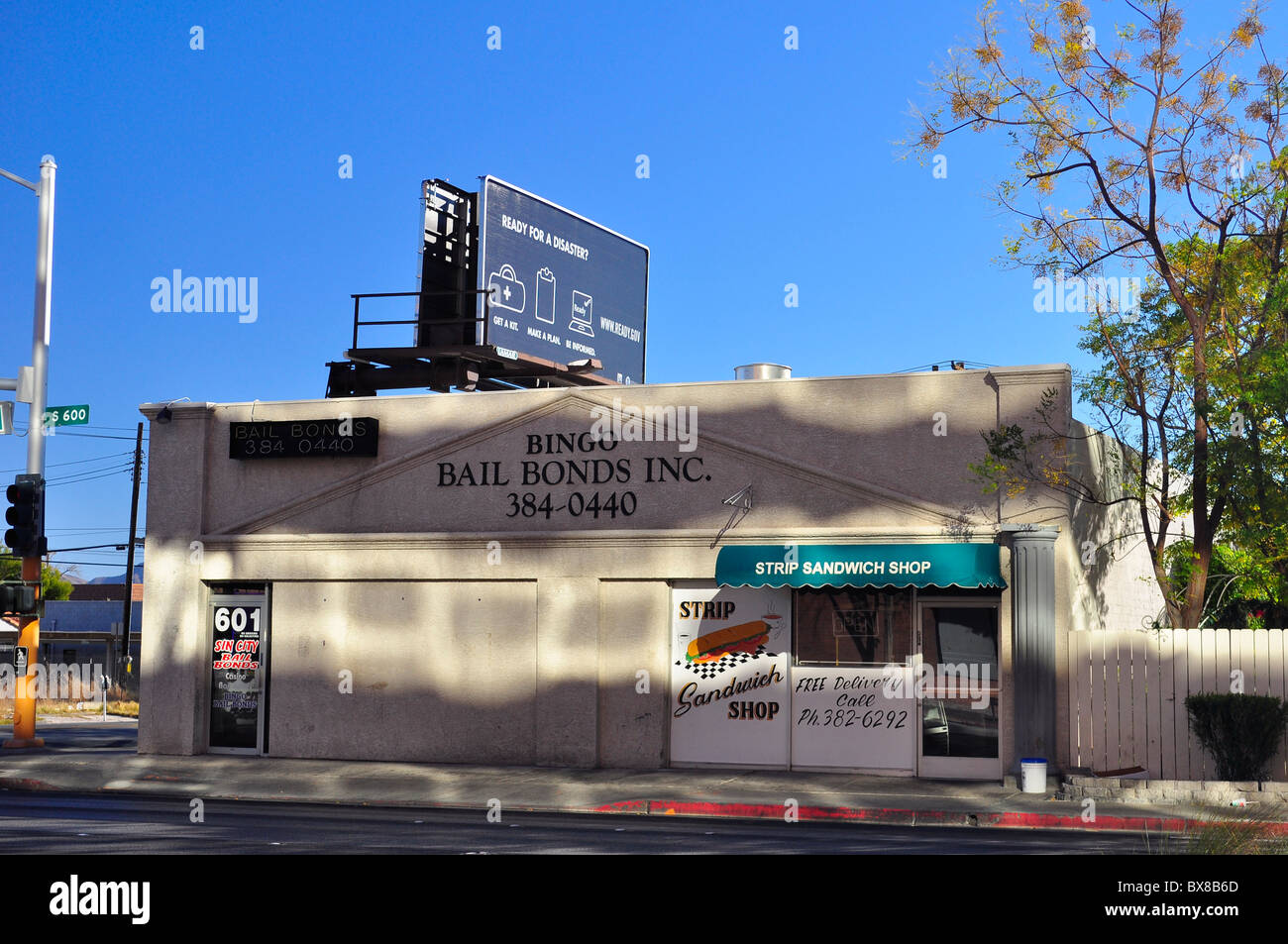 Las Vegas, Bingo Bail Bonds & Soup shop, Las Vegas, Nevada, USA - Stock Image