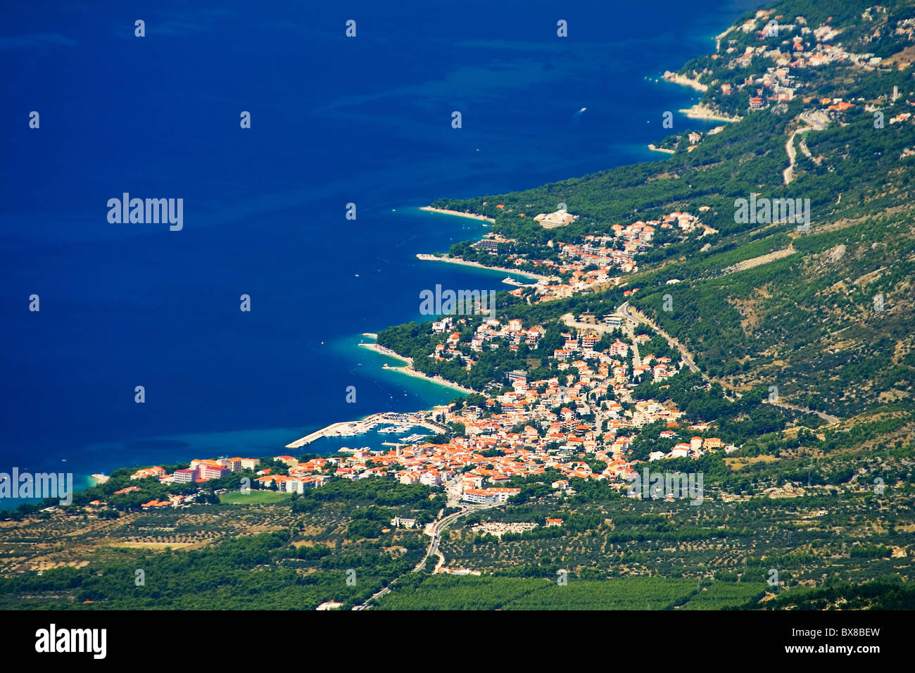 the coast of Baska Voda in Croatia - Stock Image