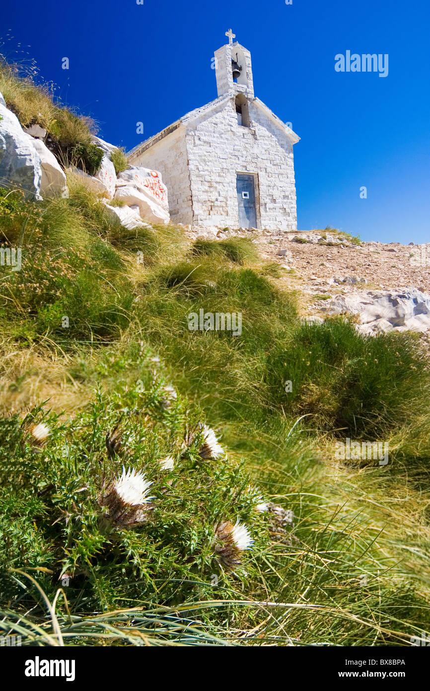 the stony church in range Biokovo - Croatia - Stock Image