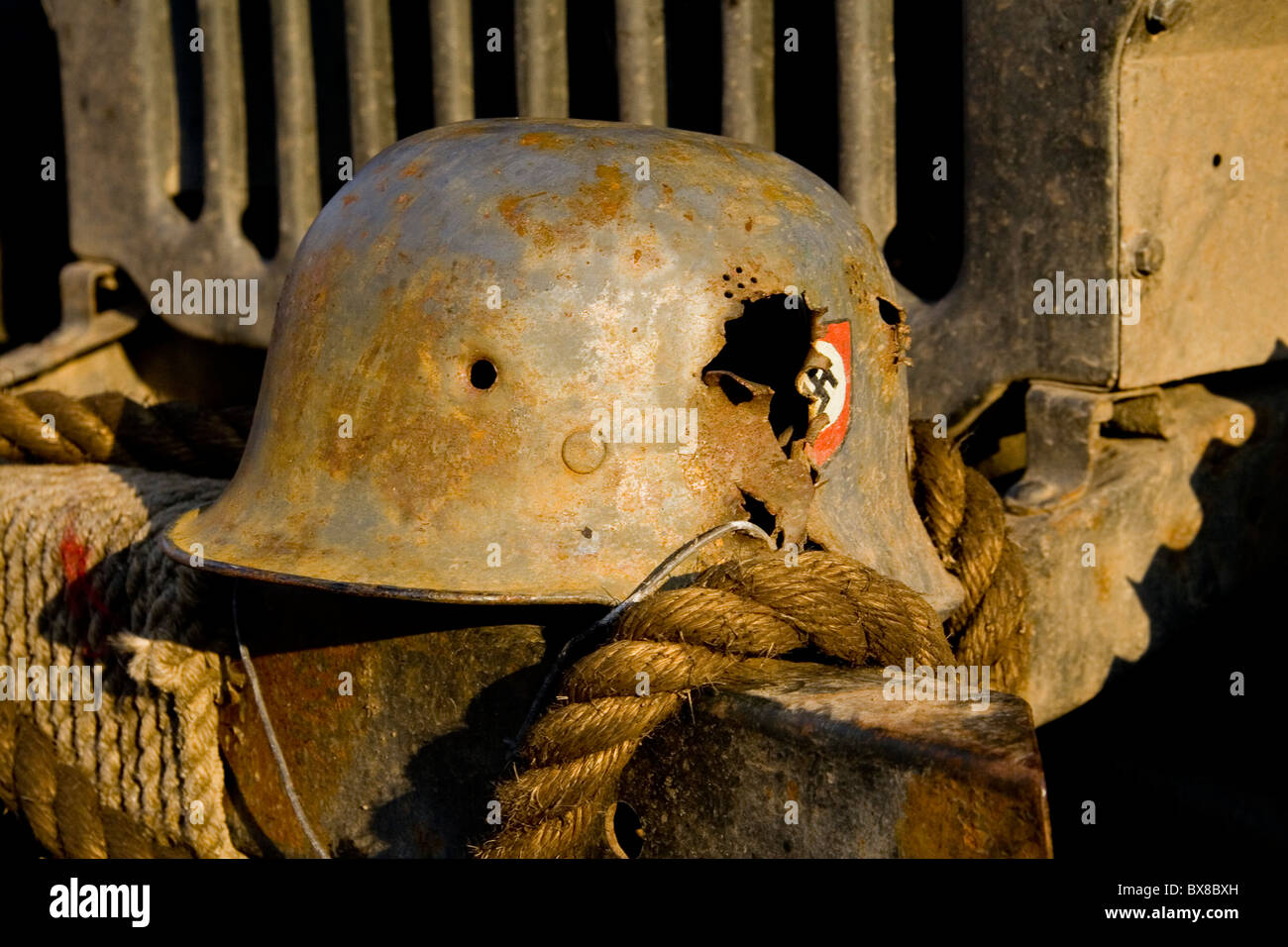 helmet with swastika from the Second World War - Stock Image