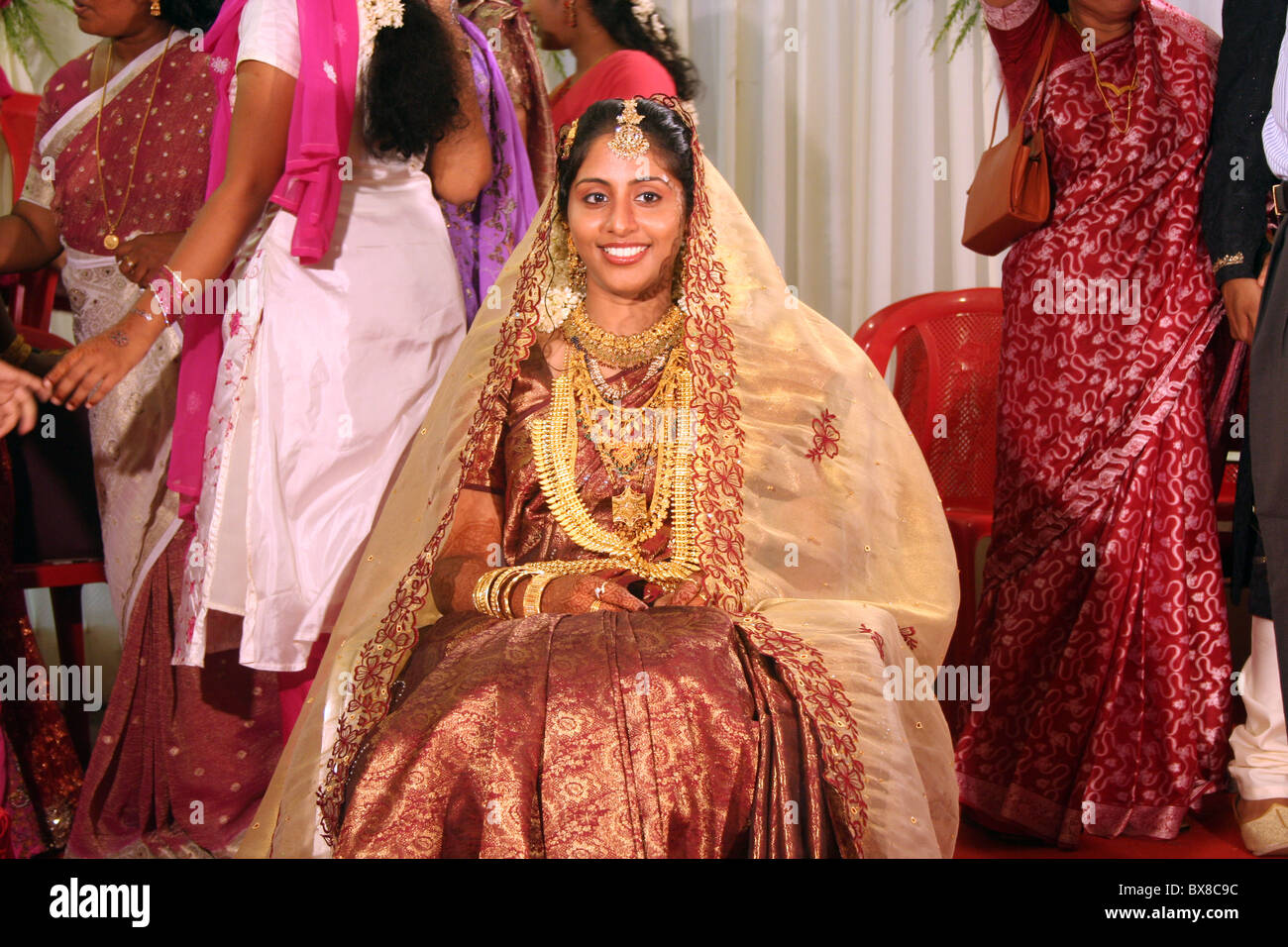Muslim Bride at her marriage in India - Stock Image
