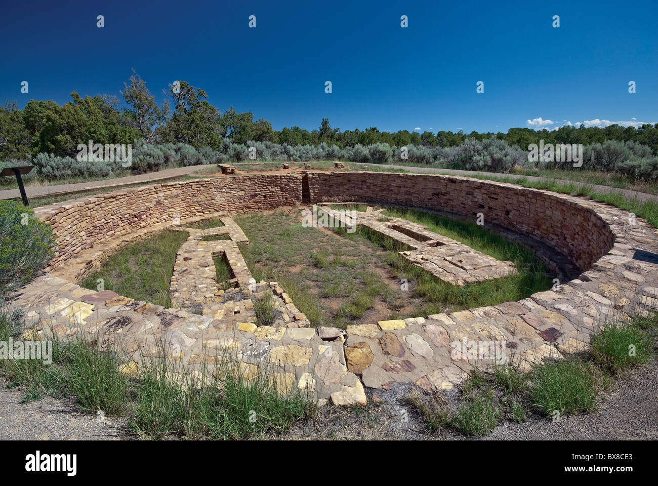 The Great Kiva at Lowry Pueblo at Canyons of the Ancients National Monument, Colorado, USA - Stock Image