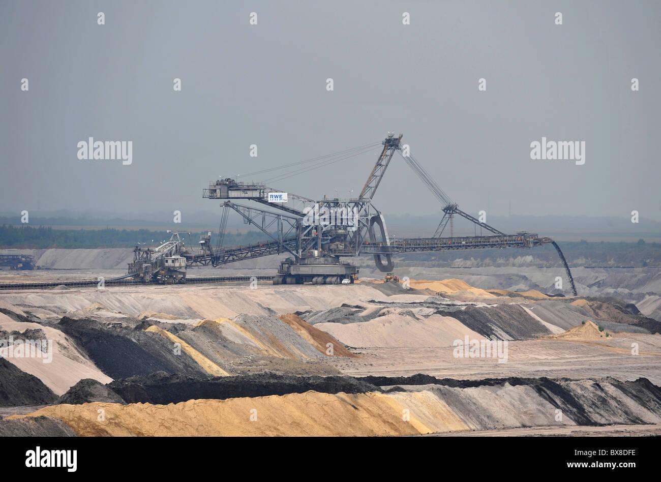 Open cast coal mining near Aachen in Germany on a huge scale using colossal Krupp Bagger 288 bucket wheel excavators Stock Photo
