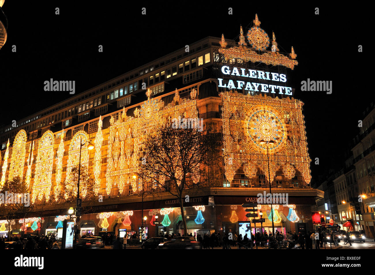 Galeries Lafayette department storeParis at night with Christmas lighting & Galeries Lafayette department storeParis at night with Christmas ...