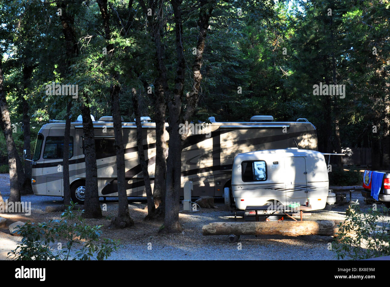 Little and large caravans on a campsite in California USA - Stock Image