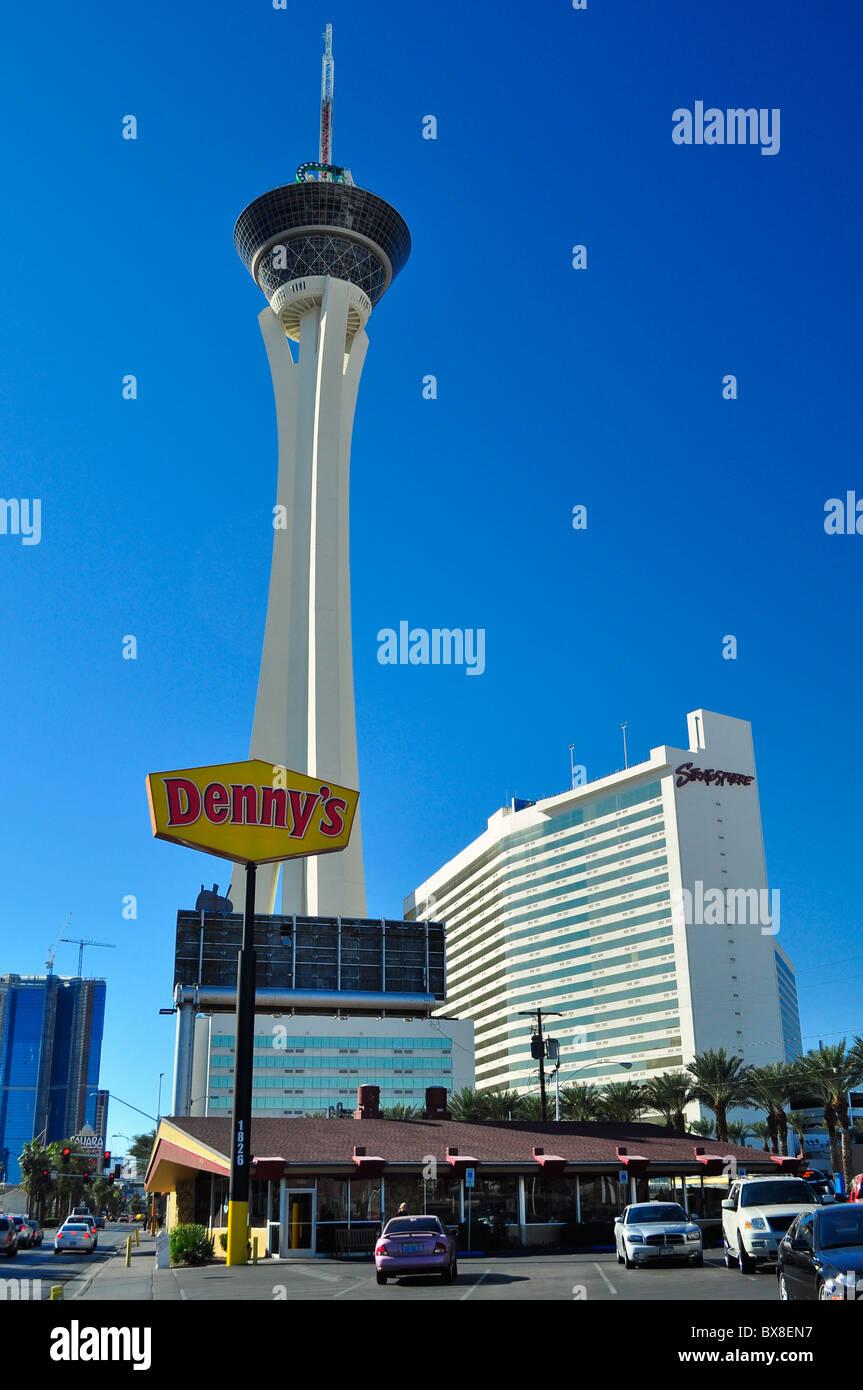 Stratosphere casino & Denny's restaurant, Las Vegas, Nevada, USA - Stock Image