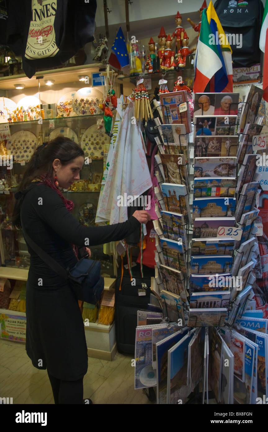 Postcards in souvenir shop Rome Italy Europe - Stock Image