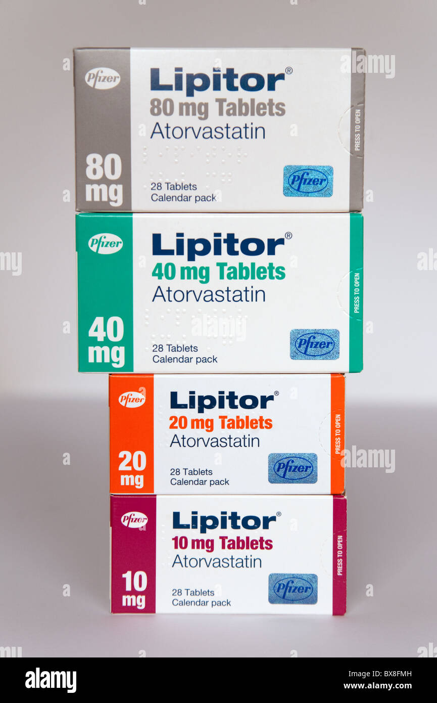 Different strengths of Atorvastatin, trade name Lipitor, made by Pfizer - Stock Image