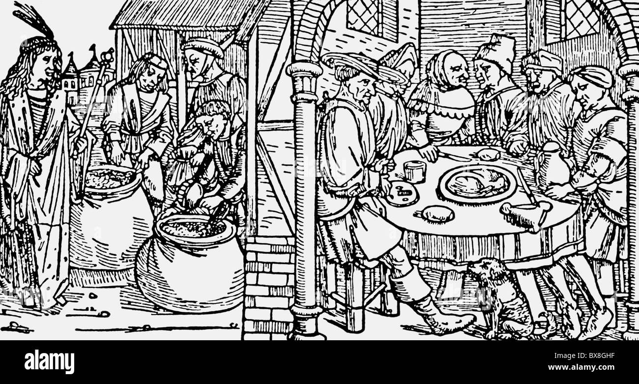"""religion, biblical scenes, """"Lazarus and Dives"""", woodcut, Luebeck Bible, printed by Stephan Andres, 1494, Additional Stock Photo"""