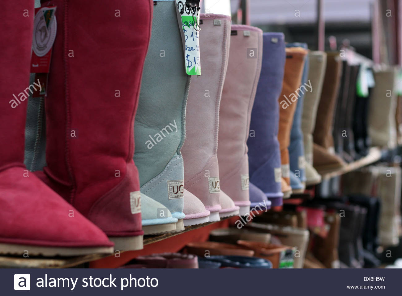 Ugg boots lined up for sale at Melbourne's Queen Victoria Markets.
