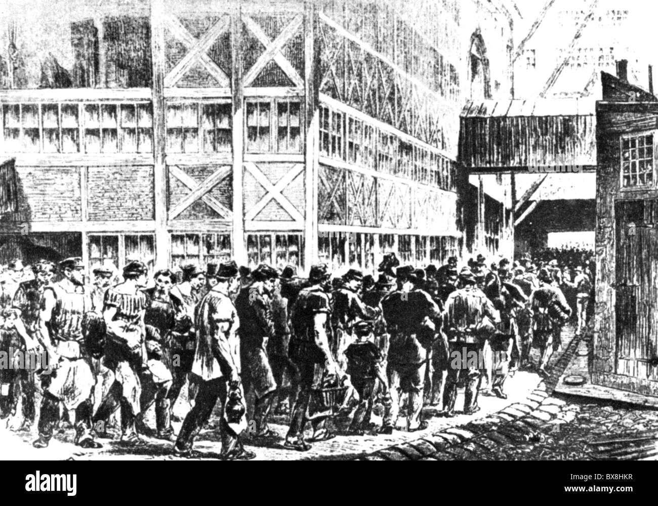 industry, worker, beginning of a shift in a factory, wood engraving, France, 1871, Additional-Rights-Clearences - Stock Image