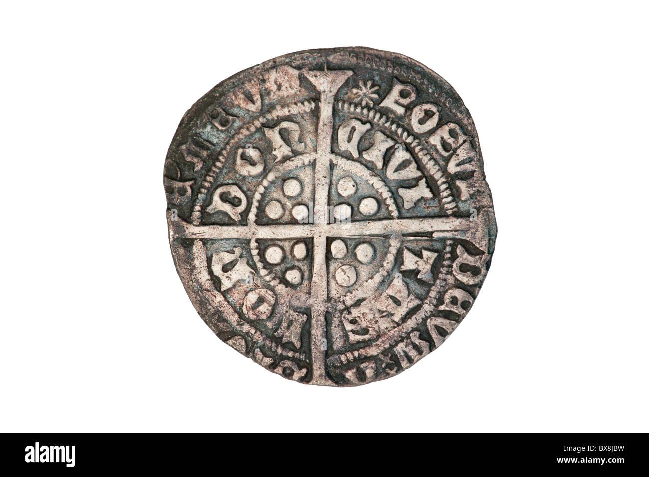 Silver groat of King Edward - reverse - Stock Image