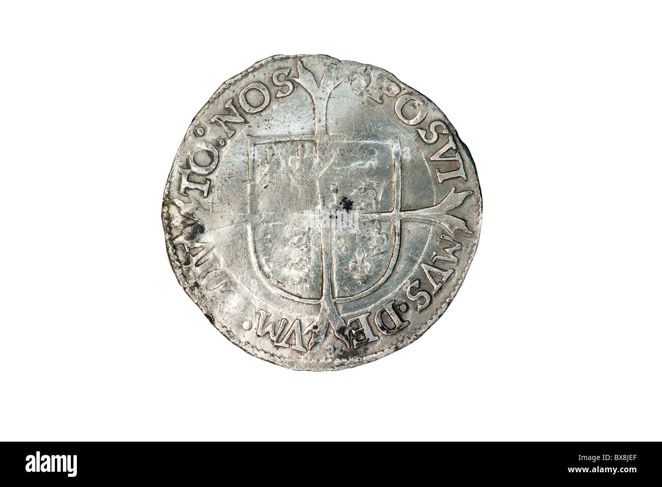 Reverse of a silver Queen Mary and Philip groat - Stock Image