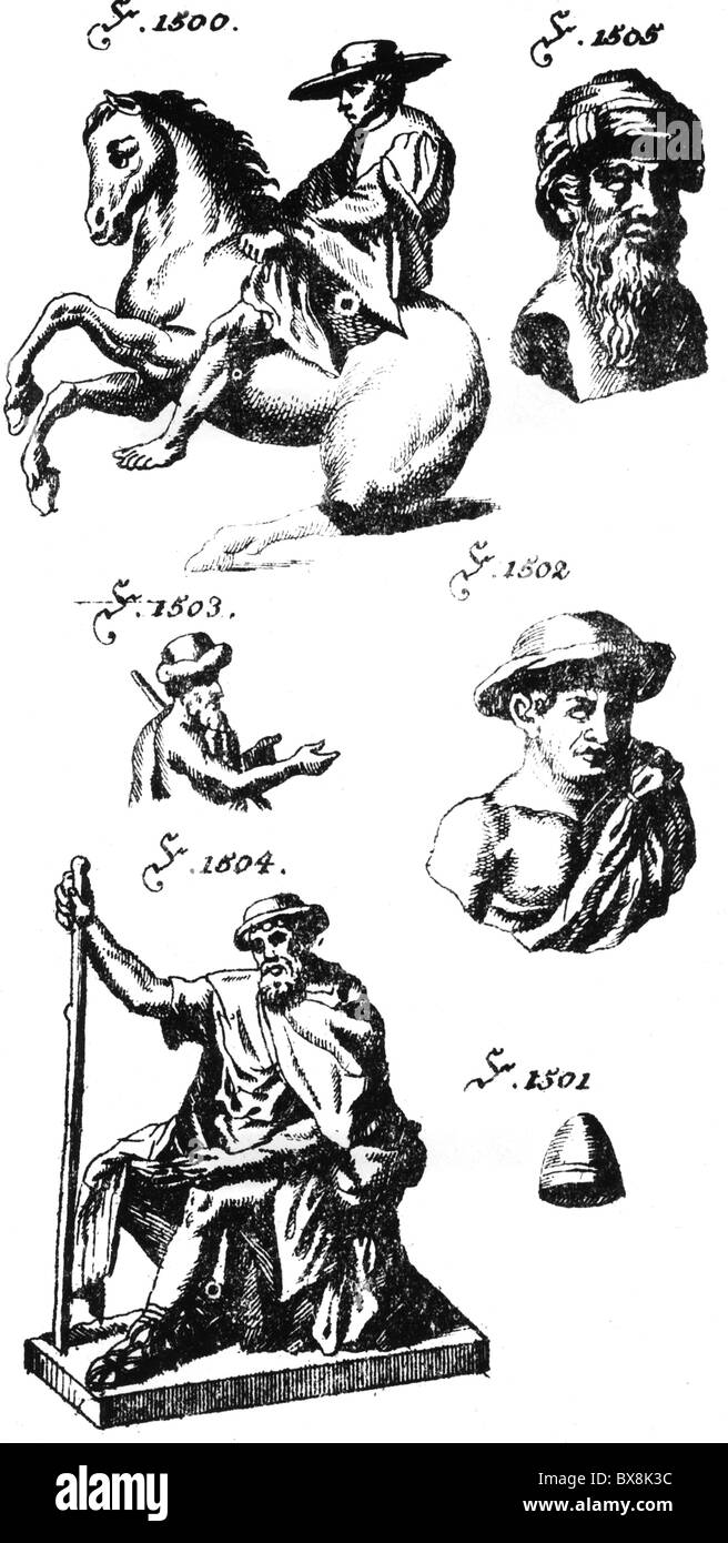 fashion, headgear, hats, ancient Greek and Roman hats, copper engraving, Johann Georg Kruenitz 'Oeconomische - Stock Image
