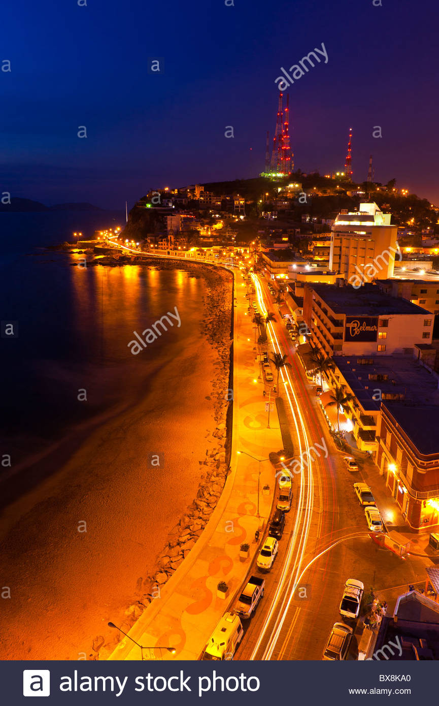 Twilight overview of Playa Olas Altas, Mazatlan, Sinaloa, Mexico - Stock Image
