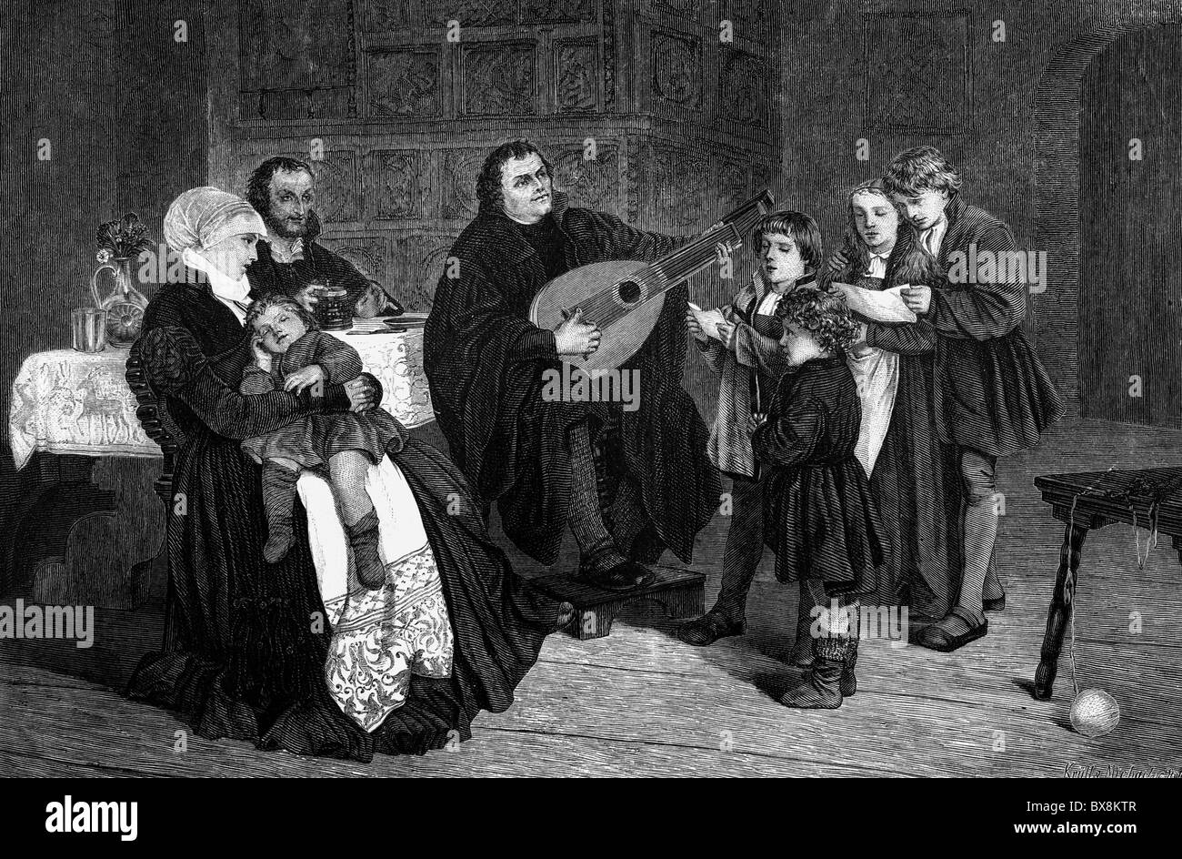 Luther, Martin, 10.11.1483 - 18.2.1546, German reformer, scene, making music with his family, wood engraving after - Stock Image