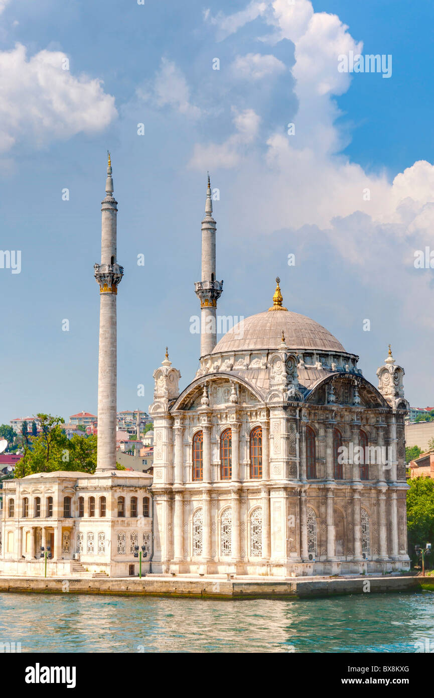 The Ortakoy Mosque on the Bosphorus river. Istanbul Turkey. - Stock Image