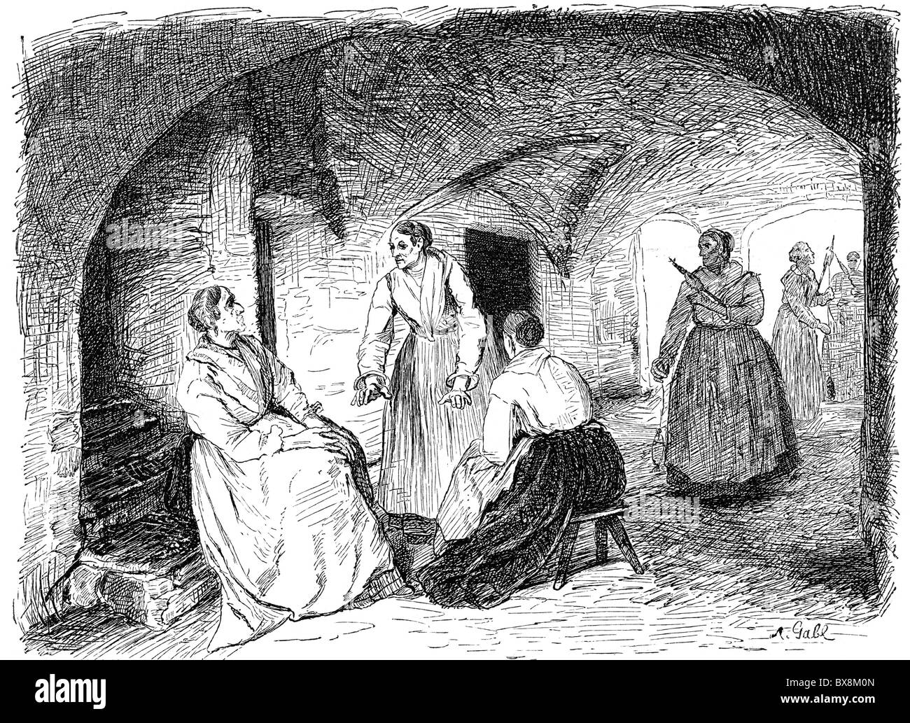 geography / travel, Italy, people, women in the vestibule of a stable telling stories and spinning, Val Redena, - Stock Image