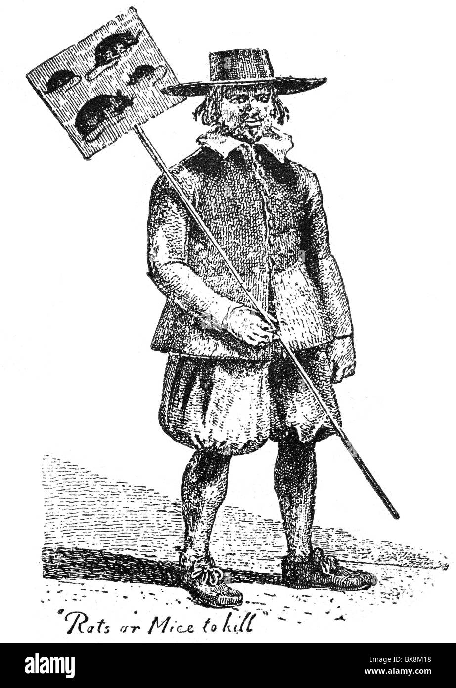 people, professions, rat catcher, London, 17th century, wood engraving, 19th century,  , Additional-Rights-Clearences - Stock Image